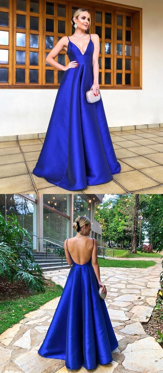 7f562083dfc4 A-Line Spaghetti Straps Floor Length Royal Blue Satin Prom Party Dress by  PrettyLady, $110.18 USD
