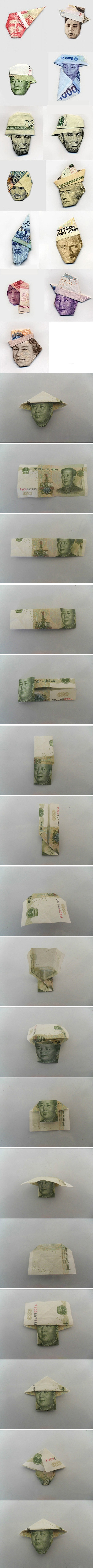 origami bank notes--- My ex boyfriend use to make these heads