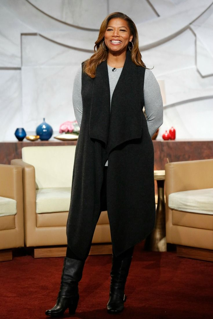 My style on October 13: grey high-low crew tee, vest cardigan, leggings, mid-calf boots, gold hoops | Queen Latifah #ootd