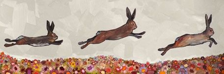 """""""Brown Bunnies Jumping Over Flowers"""" by Eli Halpin"""