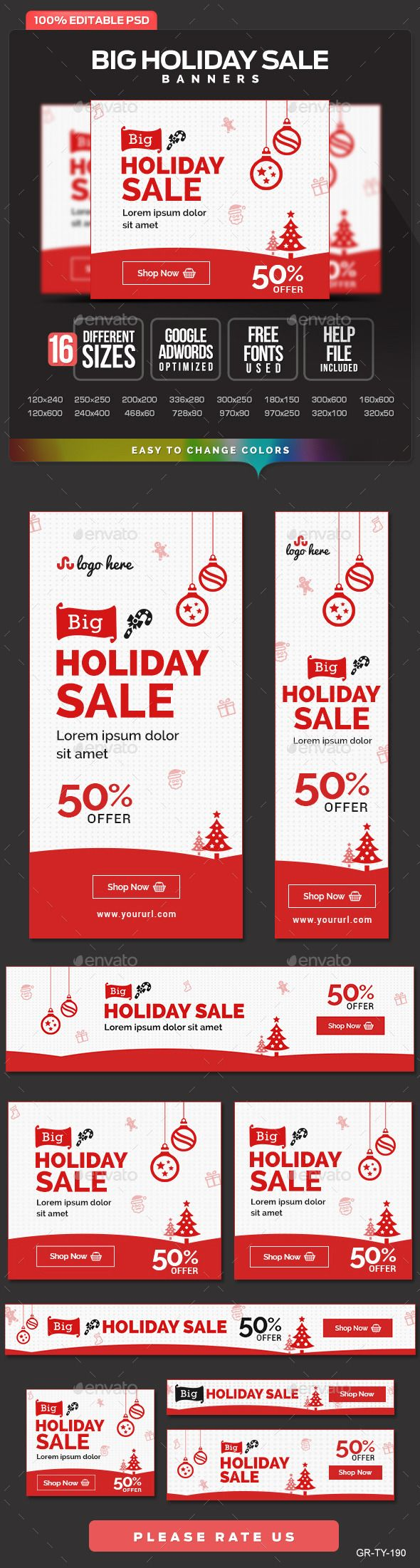 Holiday Sale Banner Design Set Template PSD   Buy and Download: http://graphicriver.net/item/holiday-sale-banner-design-set/9810206?ref=ksioks