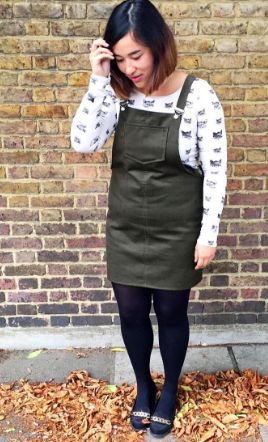 Dominique's Cleo dungaree dress - sewing pattern by Tilly and the Buttons