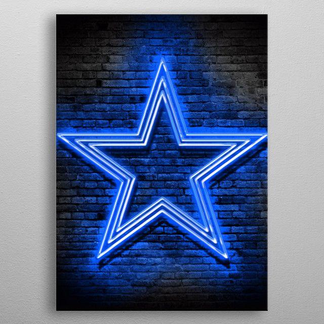 Dallas Cowboys Neon2 By Jtneon World Metal Posters