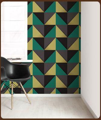 Klein Design Hoorn - Behang - Veel merken behang, Pip, Eijffinger, Studio Ditte, Onzelf, Inke - behang piramide groen