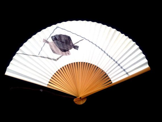 Fish Japanese Hand Fan Vintage Paper Ogi Sensu (F102) Bastard halibut