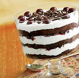 "Black Forest Trifle (needs a layer of chocolate pudding and some more ""good stuff""  not sure what flavor.  Would Kahlua go with cherry?"