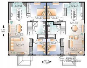 Plan de Rez-de-chaussée Maison jumelée plain-pied, contemporaine/zen, 2 chambres - Ambrose 4