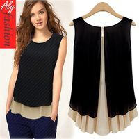 2013 New Fashion Casual High Street European Style Vintage Cross Sleeveless For Women Blouse & Shirt Woman Clothing Black 8240-in Blouses & ...