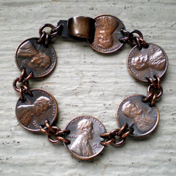 Copper penny bracelet. All the pennies he finds and gives me for good luck.