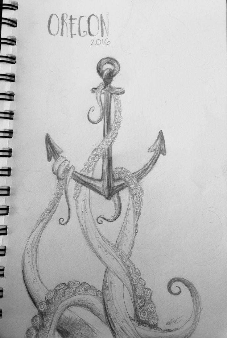 Anchor octopus ocean sketch pencil drawing art Oregon coast