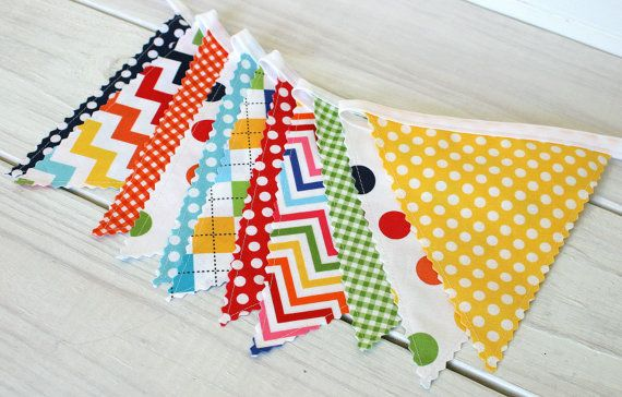 Party Decoration, Birthday Decoration, Colorful, Bunting, Fabric Banner, Flags, Photo Prop - Rainbow Chevron, Dots, Gingham - Ready to Ship