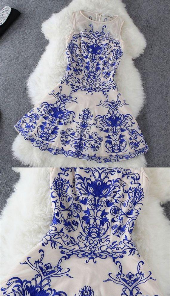 A-Line Dresses,Printed Royal Blue Dresses,Short Homecoming Cocktail Dresses,Homecoming Dresses 2017