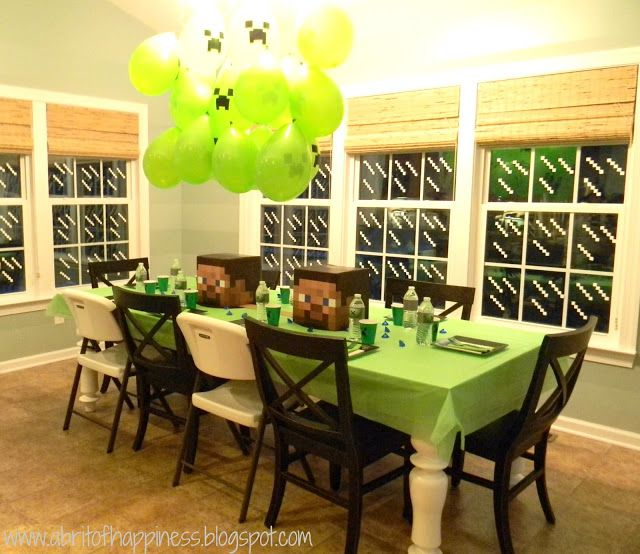 Seaside Interiors: A Fun Minecraft Party!  Love the little details:  white electric tape on the windows