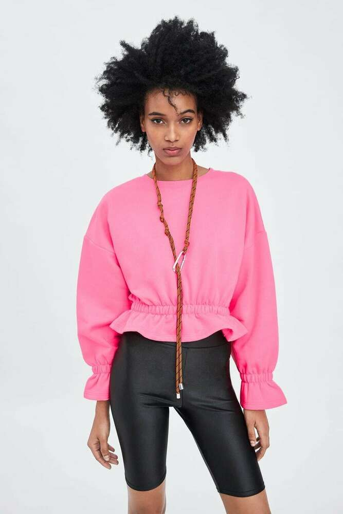 4153c4c8 ZARA - Neon Pink Cropped Sweatshirt - M (UK 10/12) #fashion ...