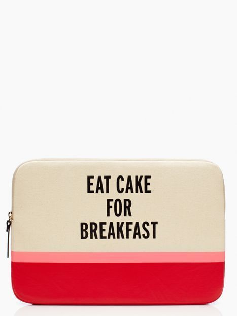 eat cake for breakfast laptop sleeve, too bad i already have a case for my macbook - black and orange clutch bag, shoulder bags on sale, off the shoulder bags *ad