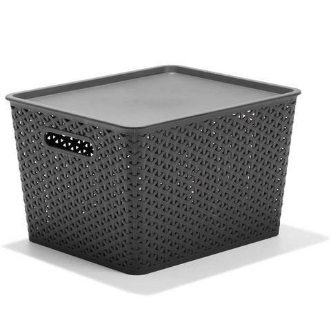 Rattan Style Storage Tub - Grey
