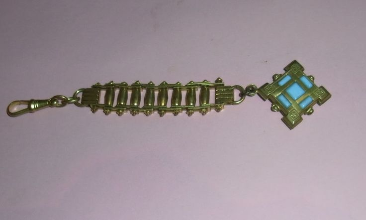 Art Deco Chatelaine watch chain Jakob Bengel Machine Age Brass blue glass stone  #JakobBengl #ArtDecoMachineage