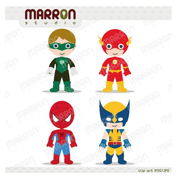 This Superhero set clipart can be use for invitation, design card, paper product, scrapbooking or any type of draft. Green latern, Flash, Spiderman and Wolverine