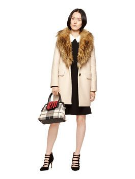 faux fur collar coat by kate spade new york