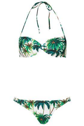 Bikini à motifs palmiers avec anneaux