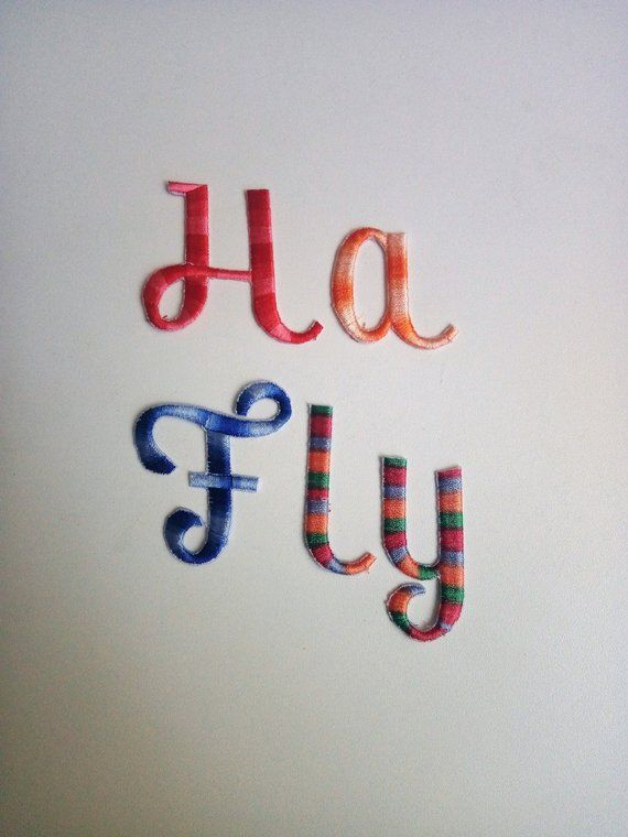 2 embroidered variegated letters iron on letters embroidered letters patch sew on