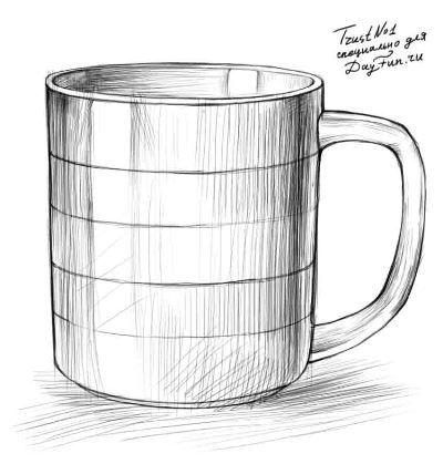 Как нарисовать кружку карандашом поэтапно 4
