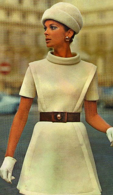 Model by:Pierre Cardin.Vogue Original Paris Patterns,1969.  That slit in the skirts right lower corner