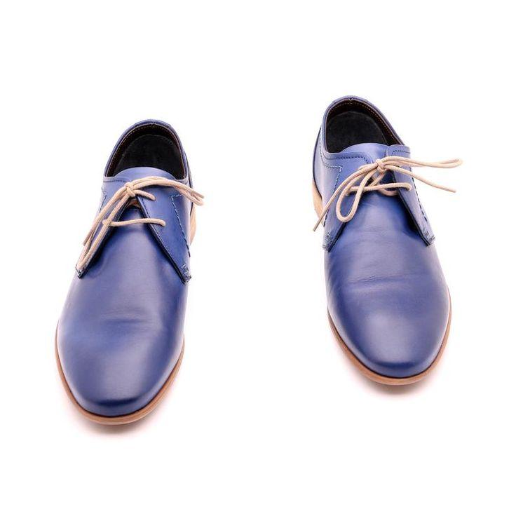 Scarpe primavera / estate per l'uomo, scarpe eleganti, colore blu, Suola in gomma con disegno antiscivolo, in vera pelle, fatto a mano in Italia.