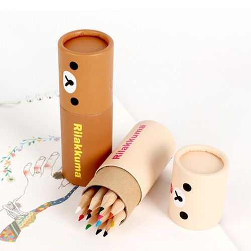 12colors/set Cute Rilakkuma Small Color Pencil Light Paper Case Writing Drawing