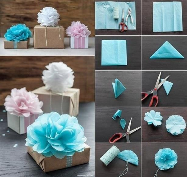 making flower napkin. Fun to decorate gifts