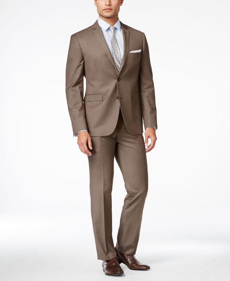 Perry Ellis Men's Medium Brown Sharkskin Extra-Slim Fit Suit