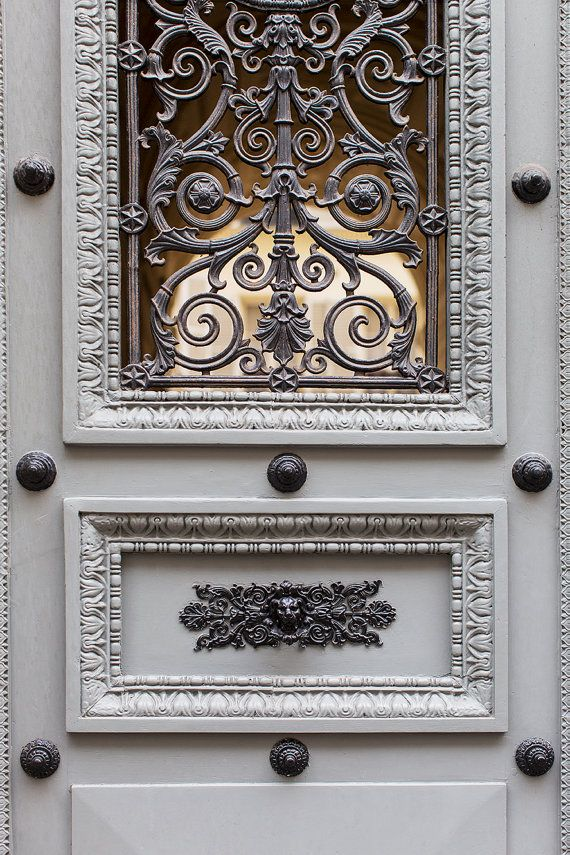 Paris Photography - French Architecture Photograph, Detail of Grey Door, Fine Art Print, Home Decor, Large Wall Art