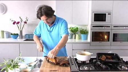 Slow roasted pork belly and boulangere potatoes recipe from James Martin, BBC