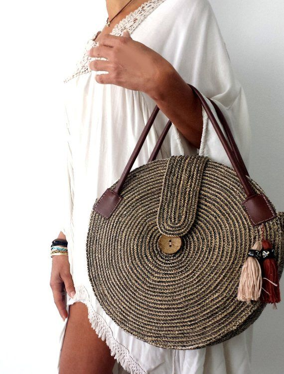 ROUND JUTA Cord BAG  Crochet Tasseled Handbag  Summer Tote  Circular Purse   Circle Bags  Brown Neutr 248aebdfdb678