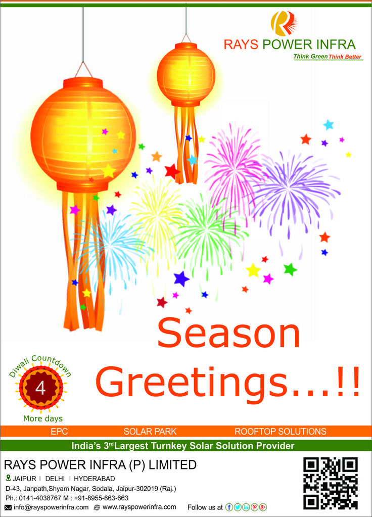 Rays Power Infra wishes everyone a very happy Diwali in Advance. Diwali countdown 4 days left.