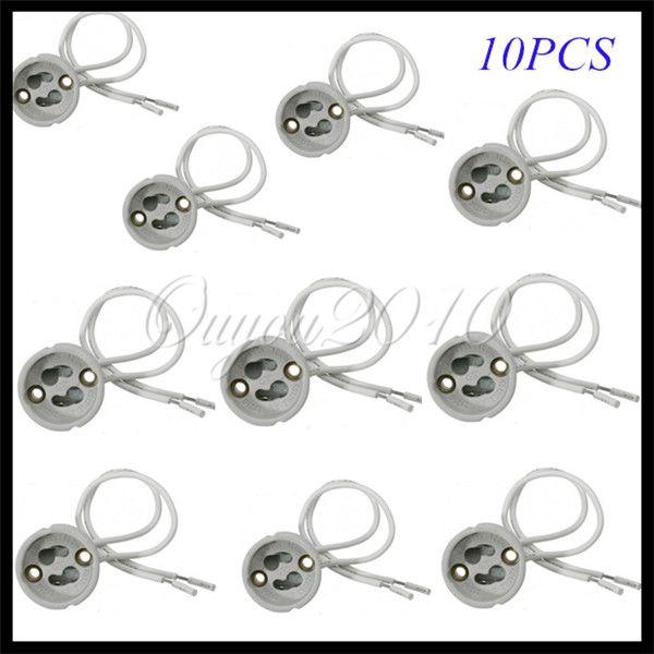 led strip connector 10 stuks gu10 fitting halogeen lamp lampen voor keramische houder base draad aansluiting gratis verzending