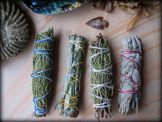 "PURIFY-4 Sage Bundles Smudge: (4-5"") Juniper, Black Sage, Cedar, White Sage + Agate Arrowhead, Clear Negativity, Herbal Incense, Boho Bundle"