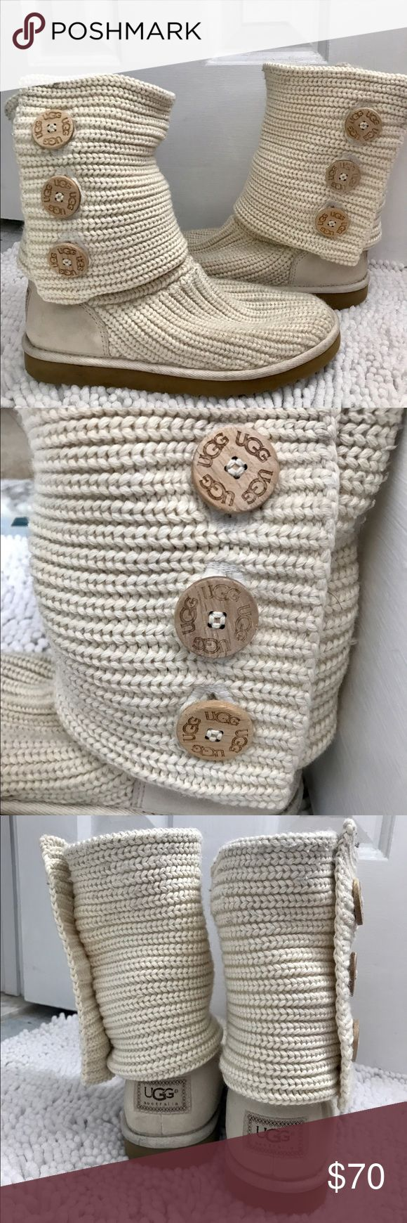 Knit UGG Boots- Women's Size 8 These are from the UGG Cardy knit line in sand color. They are gently worn which is mostly visible on the soles and suede on the back near the UGG logo. These are perfect for the spring! Very lightweight and comfortable, only the sole of the boot is lined with sheepskin. They also fold down or up easily and match pretty much everything. Purchased last season for $150. Reasonable offers will be accepted :) thanks for looking! UGG Shoes Ankle Boots & Booties
