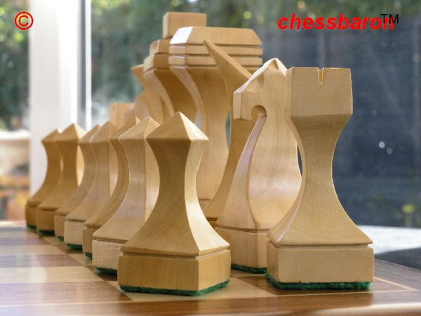 Hand Crafted Solid Sheesham Contemporary Chess Pieces - M2041 at chessbaron.co.uk (0)1278 426100 Modern and stunning hand crafted chess pieces!