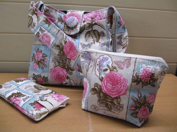 Vintage Postcard Design Shoulder Bag Set, Hobo Bag Set, Slouch Bag, Makeup and Glasses Pouch, Small Shopper Bag, Handmade Handbag Set. by BobbyandMeSew on Etsy
