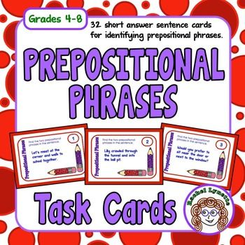 Prepositional phrases can be tricky! This set of task cards will work well for reinforcing this concept. Each card features two prepositional phrases for students to identify. There are also three additional challenge cards to extend the activity and to provide for differentiation.