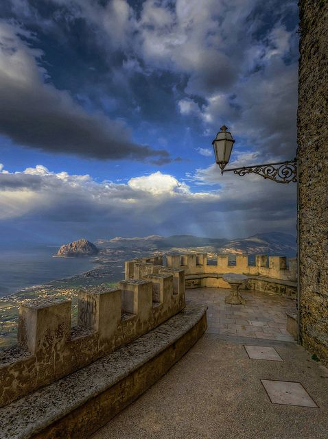 View of Golfo di Bonagia from Erice, Sicily, Italy