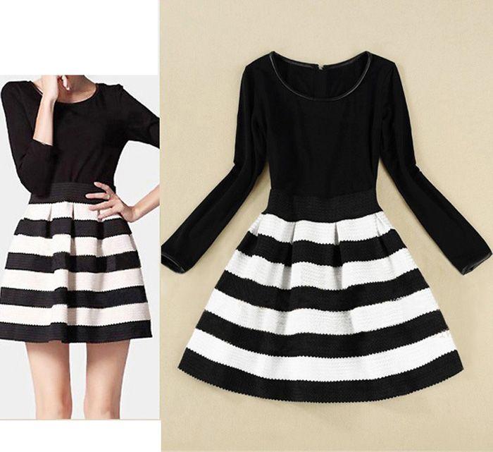 Wholesale Elegant Scoop Neck Color Matching Long Sleeve Women's Striped Dress (BLACK,XL), Dresses 2013 - Rosewholesale.com