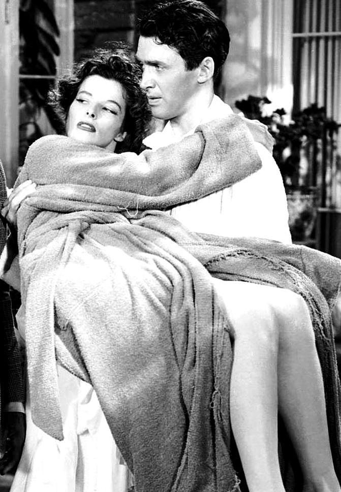 """""""The Philadelphia Story"""" (1940) / James Stewart wasn't at all comfortable with some of the dialog, especially in the swimming pool scene, which also required him to act in a dressing gown. He said at the time that if he'd played the scene in just a swimming costume it would have been the end of his career."""