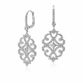 Diamond Scroll Drop Earrings in 18K White Gold ()