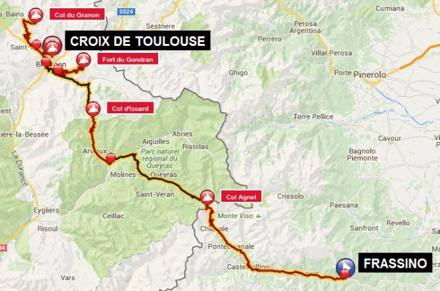 carte 8 _ 8ème étape–Frassino– Sampeyre – Casteldelfino – Pontechianale –Col d'Agnel– Molines-en-Queyras – Château-Ville-Vieille – Arvieux –Col d'Izoard– Cervières –Fort du Gondran– demi-tour – Briançon – Saint-Chaffrey –Col du Granon– demi-tour – Saint-Chaffrey –Croix-de-Toulouse= 165 km