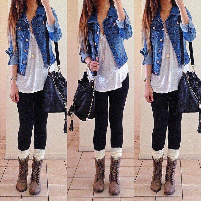 Me encanta este outfits, para ir al cine, una cita o un día de estudio o trabajo. #casacajean #leggins #botinesbrown