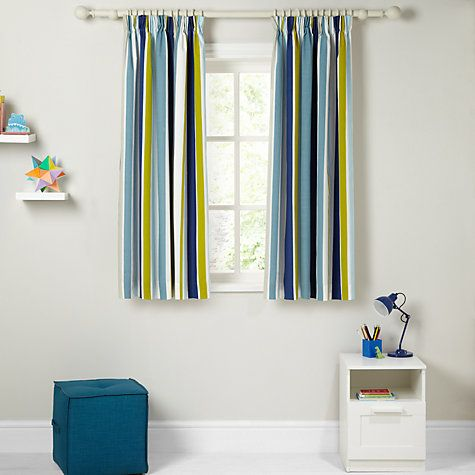 Buy little home at John Lewis Robotica Harrison Striped Pencil Pleat Blackout Lined Curtains Online at johnlewis.com