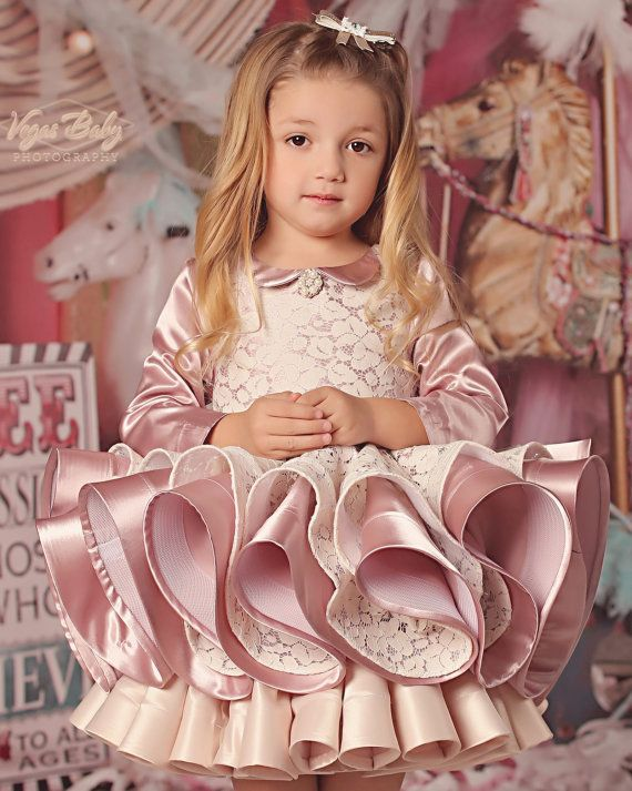 Duchess Satin & Lace Special Occasion Long Sleeve by FabTutus: