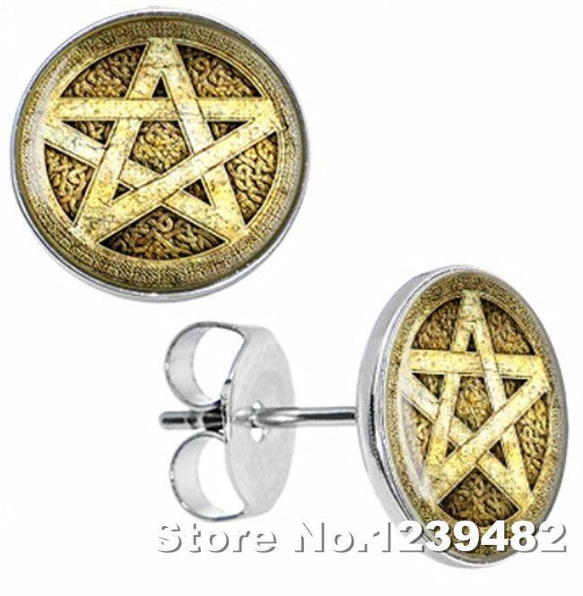 Wholesale earrings 100pcs/lot stainless steel Gold star logo ear studs 10mm disc body piercing accept customized SE0003